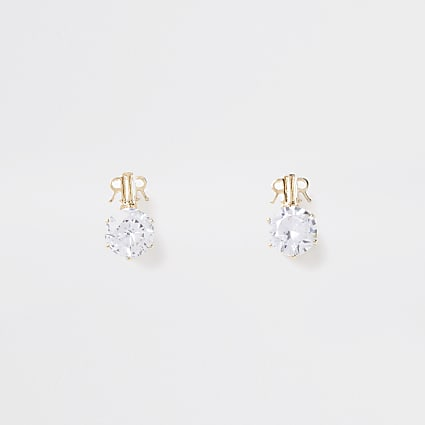 Gold colour 'RR' branded stud earrings