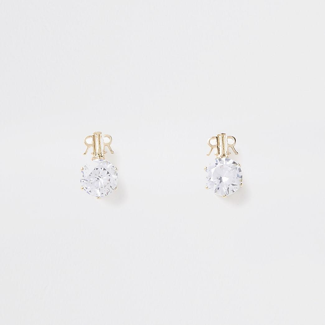 Gold colour 'RR' branded stud earrings