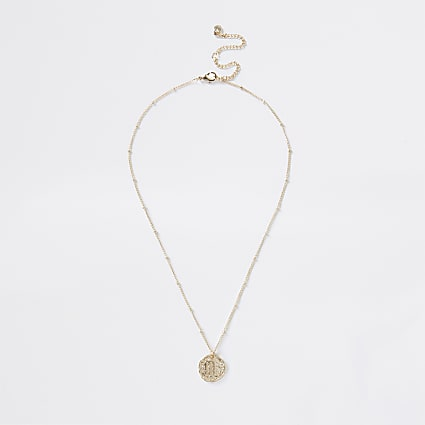 Gold colour Scorpio horoscope coin necklace