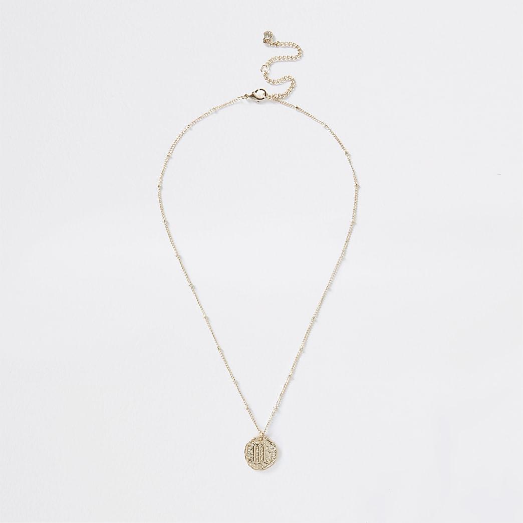 Gold colour Scorpio horoscope coin necklace