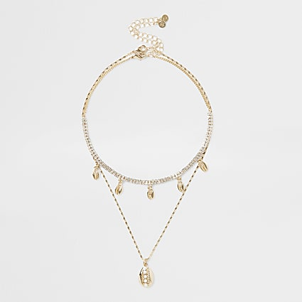 Gold colour shell 2 row layered necklace
