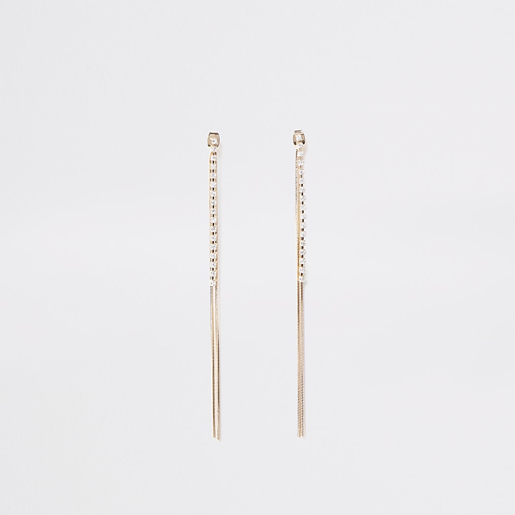Gold colour slinky front and back earrings