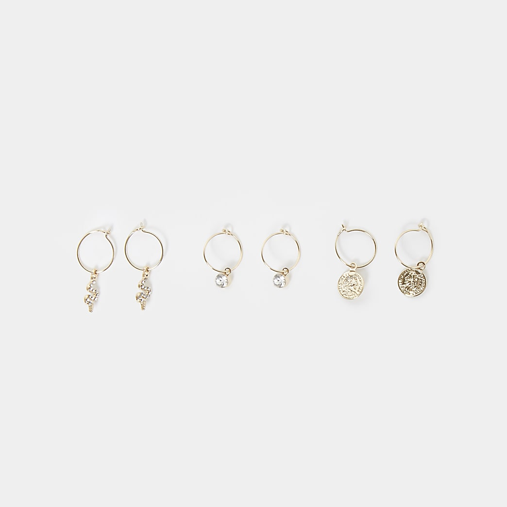 Gold colour snake charm hoop earrings 3 pack