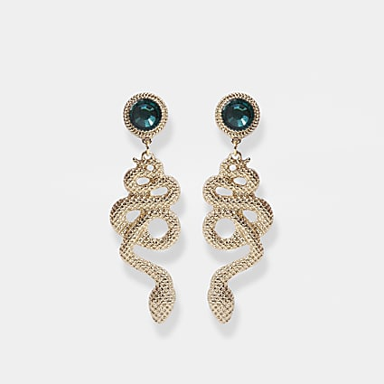 Gold colour snake green stone drop earrings