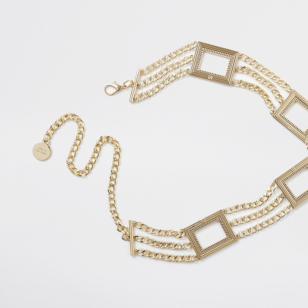 Gold colour square chain belt