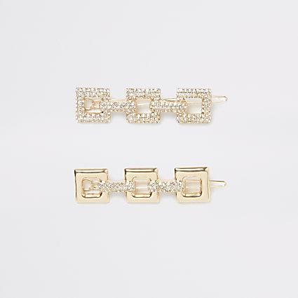 Gold colour square diamante hair clips 2 pack