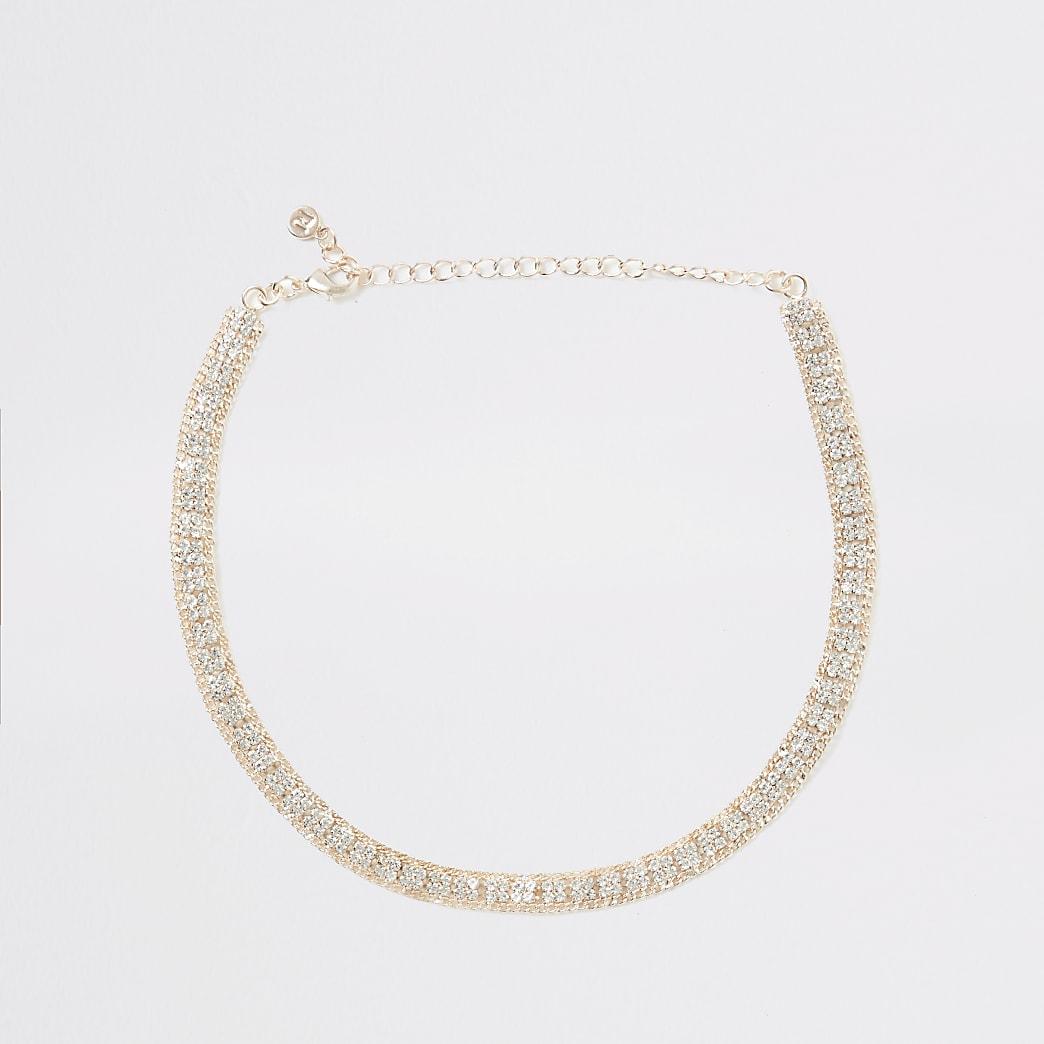 Gold colour square diamante paved choker