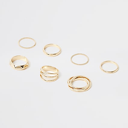 Gold colour stack ring pack