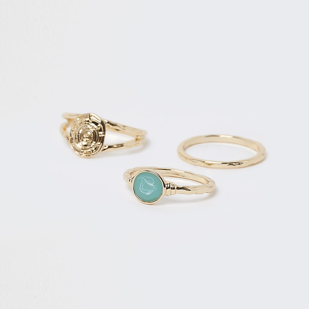 Gold colour stacking rings 3 pack
