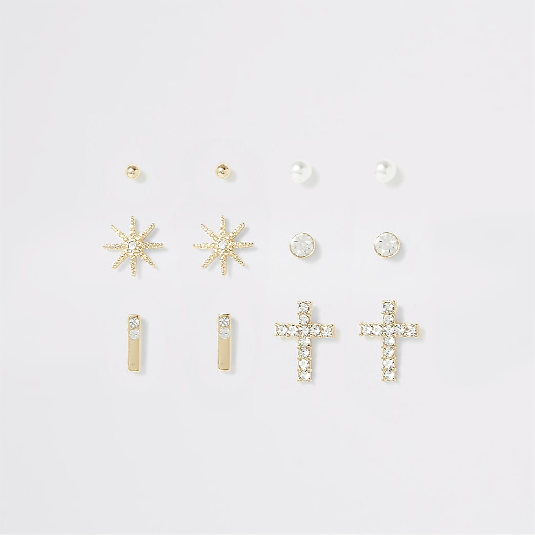 Gold colour star and cross earring multipack