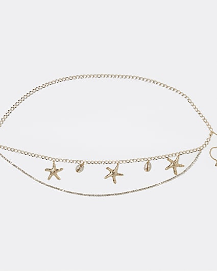Gold colour starfish and shell belly chain