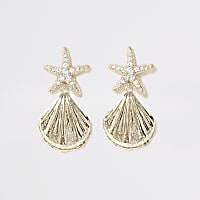 Gold colour starfish drop earrings