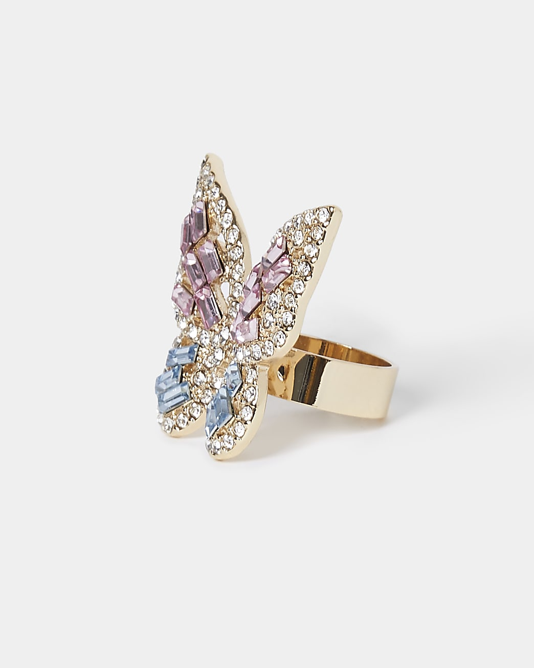 Gold colour statement butterfly ring