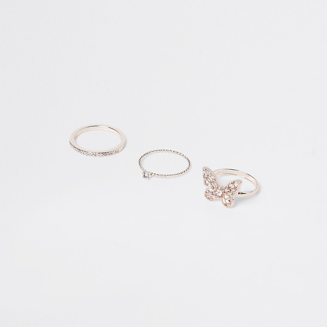 Gold colour statement butterfly rings 3 pack