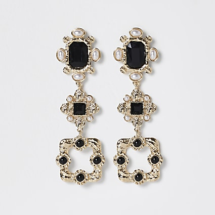 Gold colour statement stone drop earrings