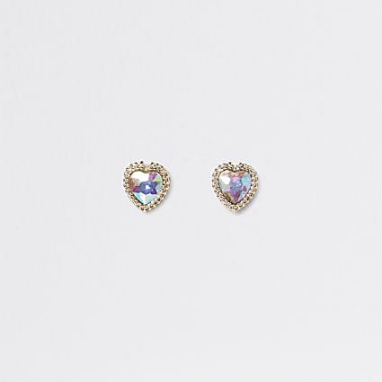 Gold colour stone heart stud earrings