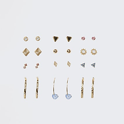 Gold colour stud and hoop earrings 12 pack