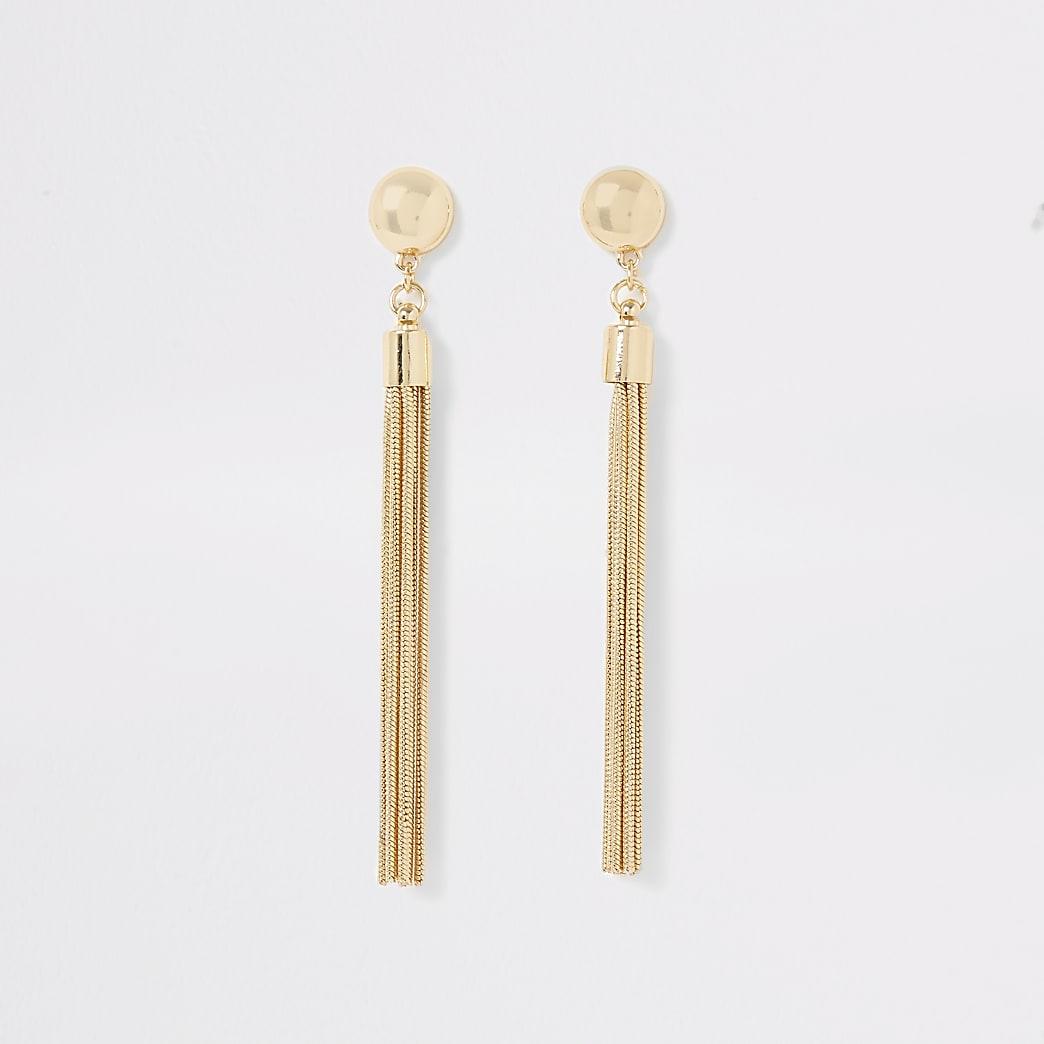 Gold colour stud tassel drop earrings