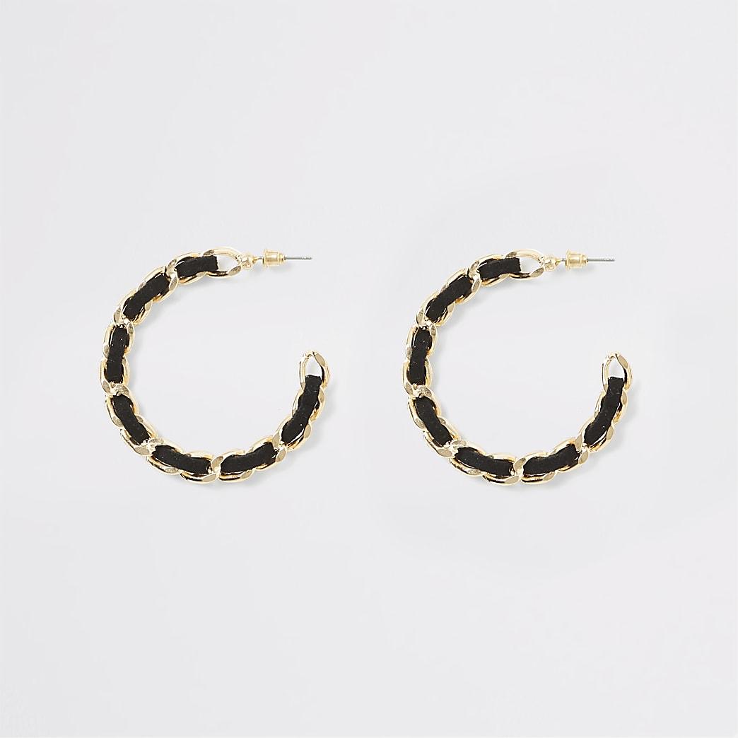 Gold colour suede threaded hoop earrings