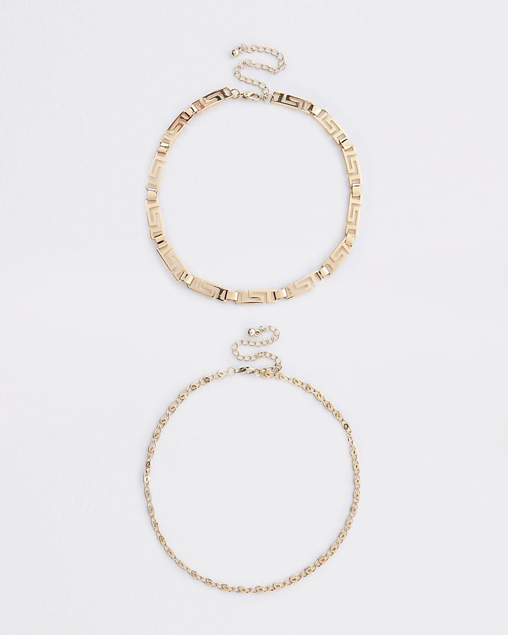Gold colour swirl chain choker 2 pack