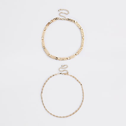Gold colour swirl chain choker 2 pack