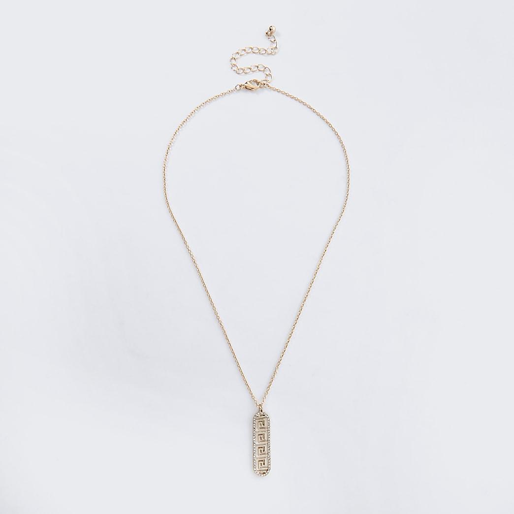Gold colour swirl diamante charm necklace