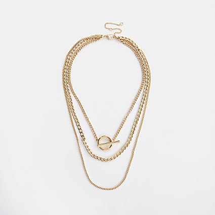 Gold colour T Bar layered chain necklace