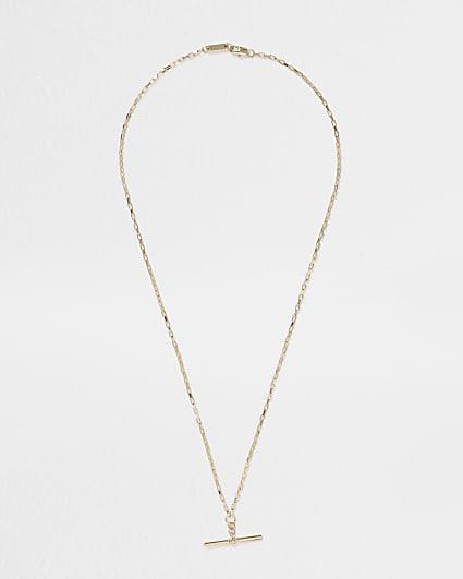 Gold colour t bar necklace