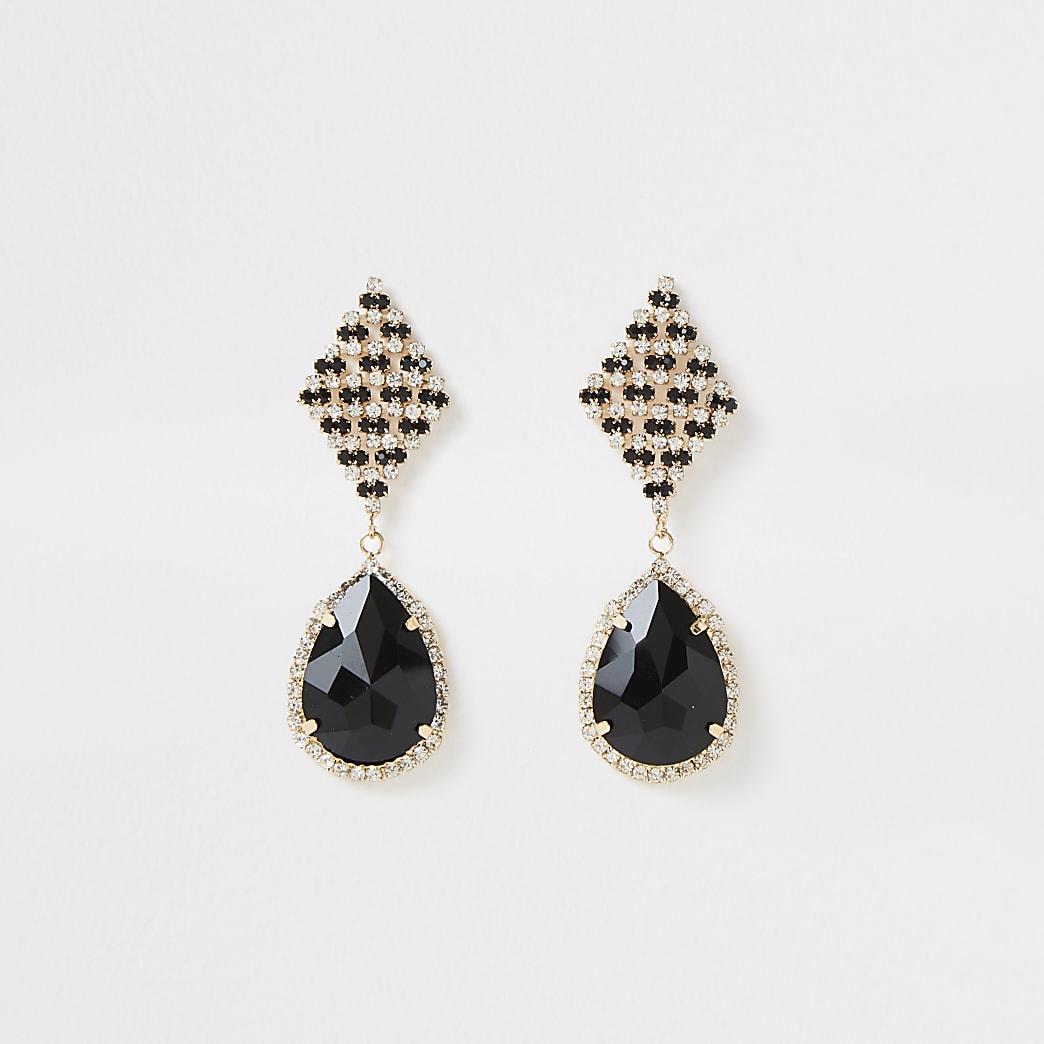 Gold colour teardrop stone drop earrings