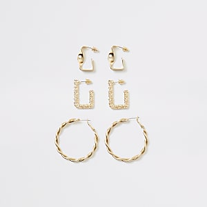 Set van 3 goudkleurige ronde oorbellen met textuur