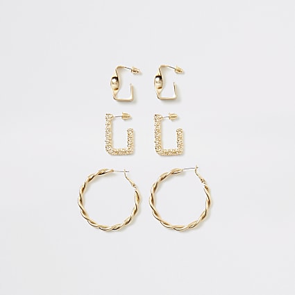 Gold colour textured hoop earrings 3 pack