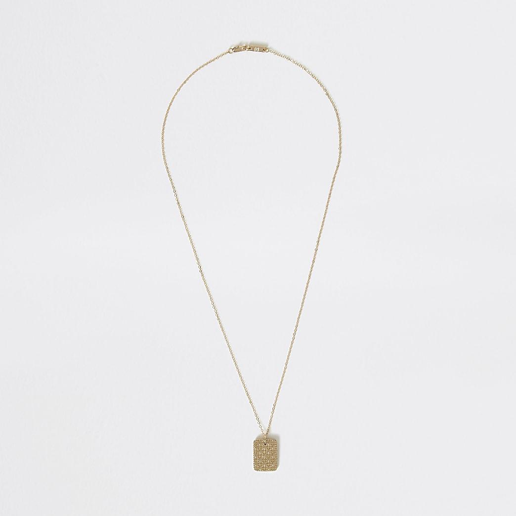Gold colour textured pendant necklace