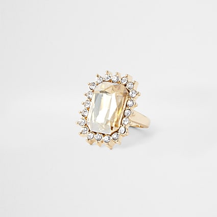 Gold colour topaz mega cocktail ring