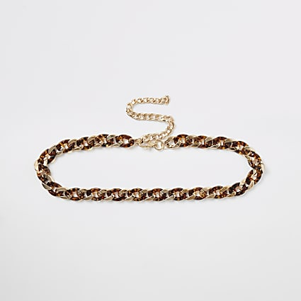Gold colour tortoiseshell link chain belt