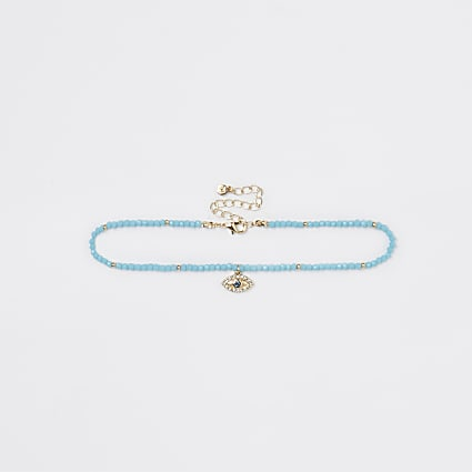 Gold colour turquoise eye charm choker