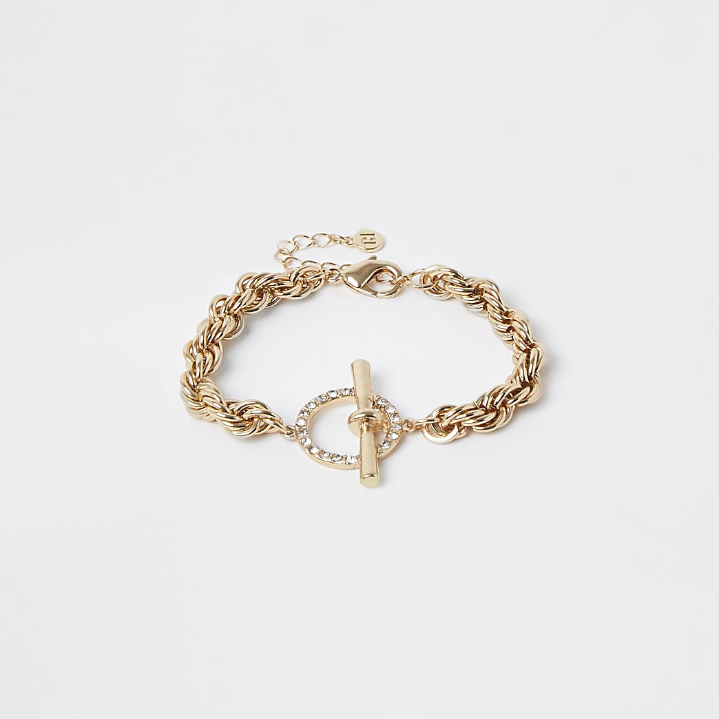 Gold colour twist chain bracelet