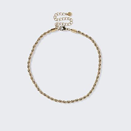 Gold colour twist chain choker