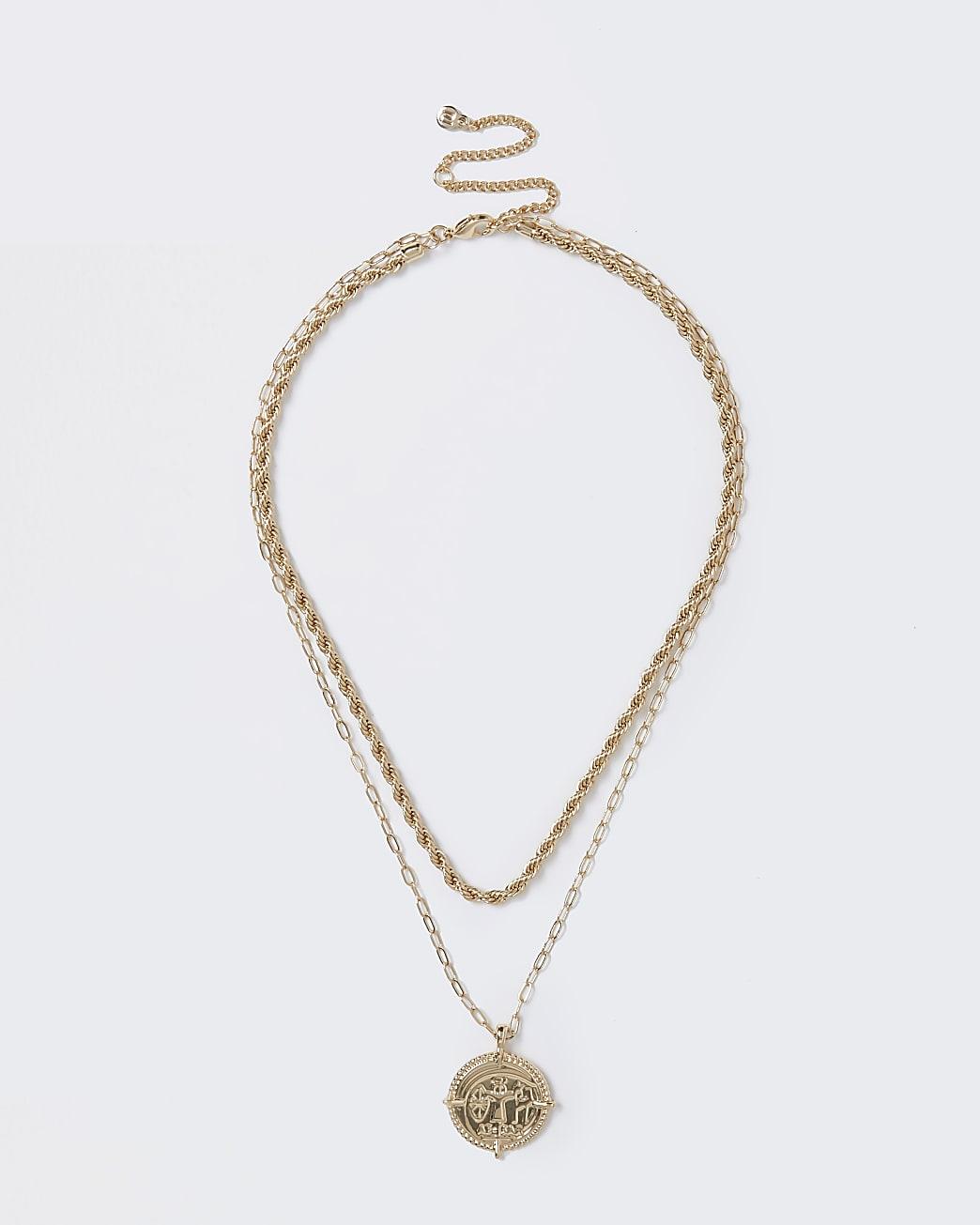 Gold colour twist chain coin drop necklace