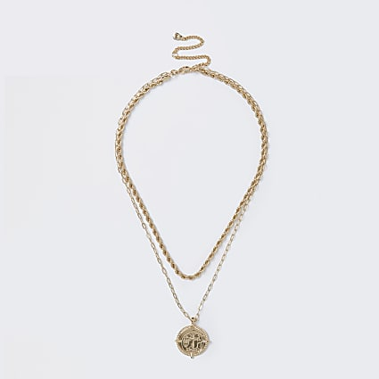 Gold colour twist chain coin drop necklace