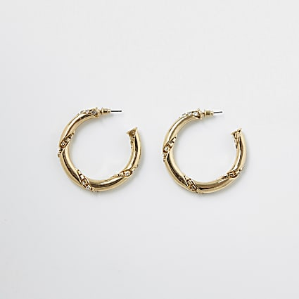 ​Gold colour twist diamante hoop earrings
