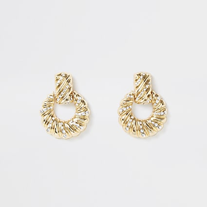 Gold colour twist pave drop earrings