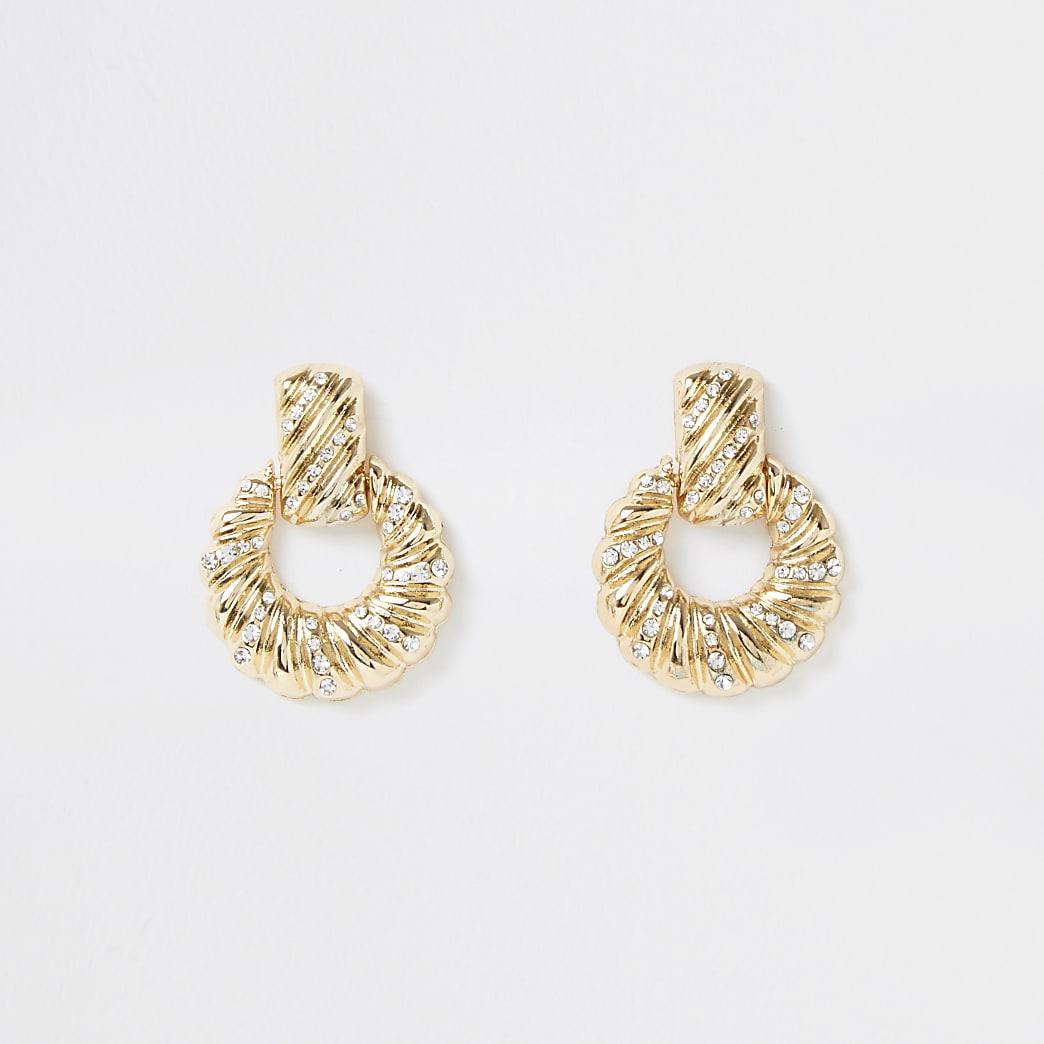 Gold colour twist pave drop earrings