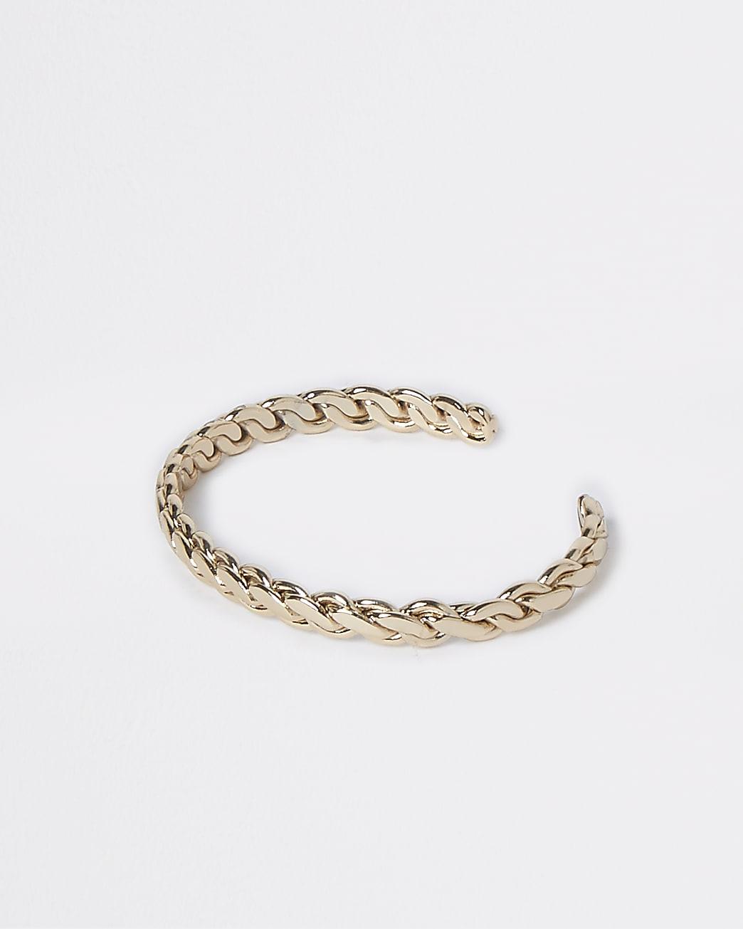 Gold colour twisted cuff bracelet
