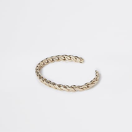 Gold colour twisted cuff bracelet