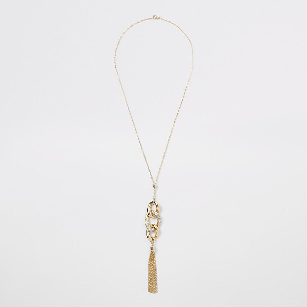 Collier avec pendentif torsadé doré