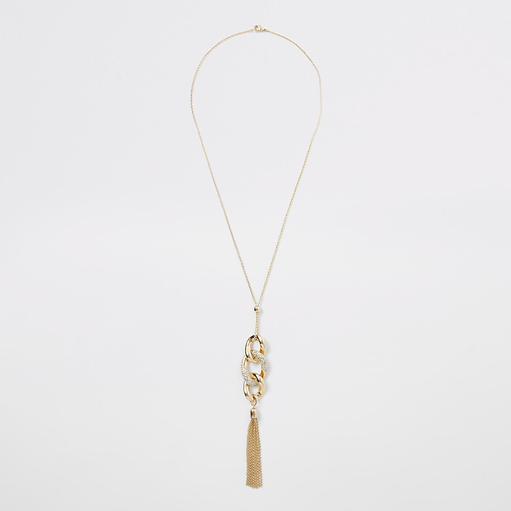 Goudkleurige ketting met gedraaide hanger