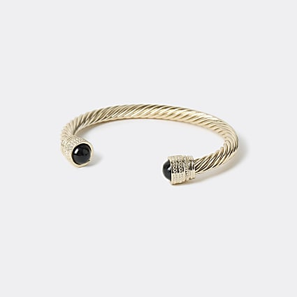 Gold colour twisted stone cuff bracelet