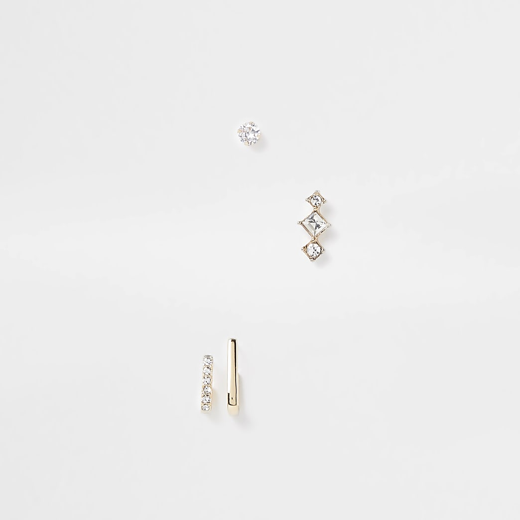 Gold colour variety diamante detail earrings