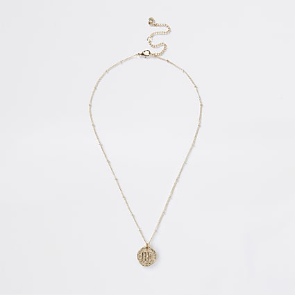 Gold colour Virgo horoscope coin necklace