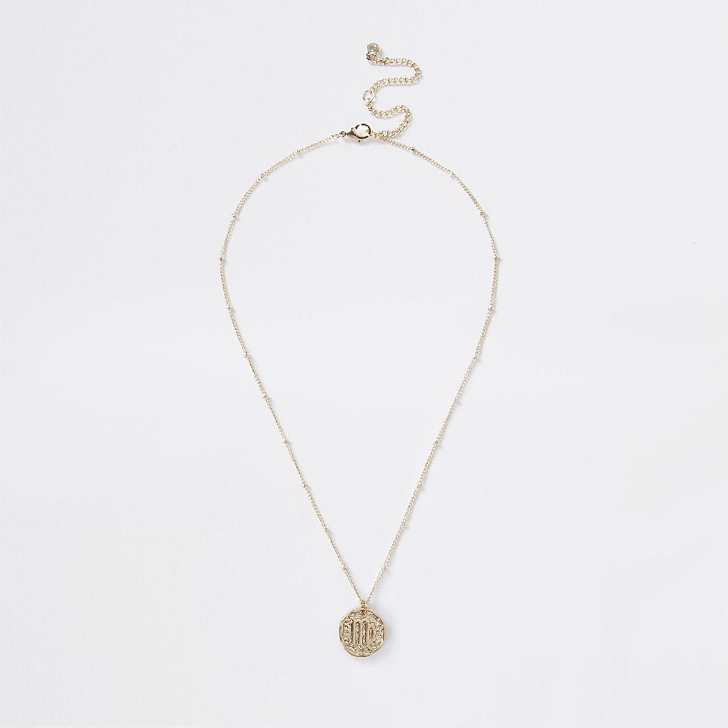 Gold colour Virgo horoscope coin necklace